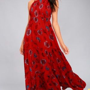 FreePeople GardenParty Red Floral Print Maxi Dress